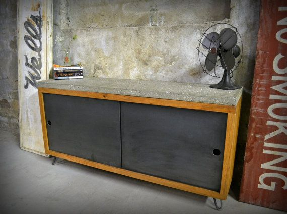 Salvaged Oak and Raw Concrete Console - made in Brooklyn by RecycledBrooklyn Shop on Etsy.