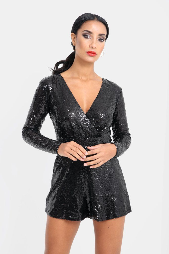 Black Sequin Open Back Long Sleeve Playsuit