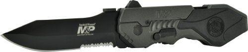 Smith & Wesson SWMP4LS M&P Linerlock Knife with 2nd Generation MAGIC Assisted Open and 40% Serrated Drop Point Blade - http://www.campingandsleepingbags.com/smith-wesson-swmp4ls-mp-linerlock-knife-with-2nd-generation-magic-assisted-open-and-40-serrated-drop-point-blade/