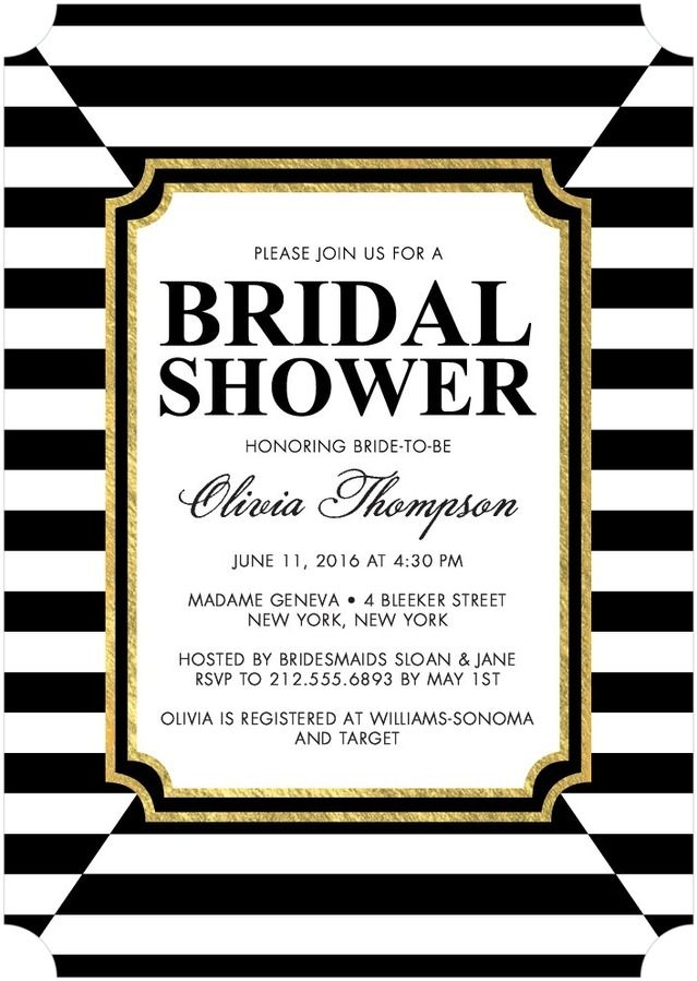 27 best glam art deco bridal shower invitations images on pinterest bridal shower invitations in black and white stripes with gold wedding stationary filmwisefo Gallery