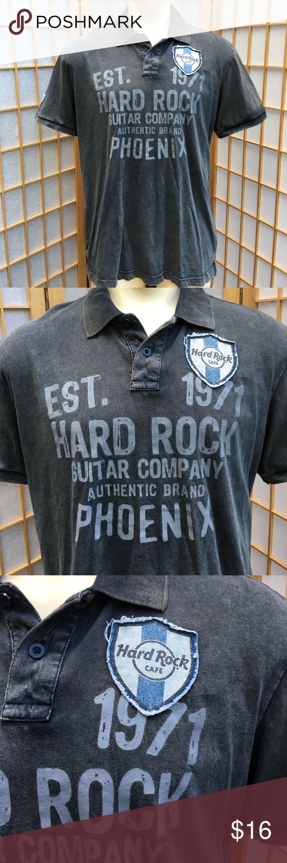 """Hard Rock Guitar Company Grey Polo Shirt SZ L Hard Rock Guitar Company Phoenix grey polo....light acid wash.... two patches, one on front, one on the sleeve...approximate measurements. chest 22"""". length front 29"""". length back 31"""". arm length 8 1/2"""".... Hard Rock Guitar Company Shirts"""