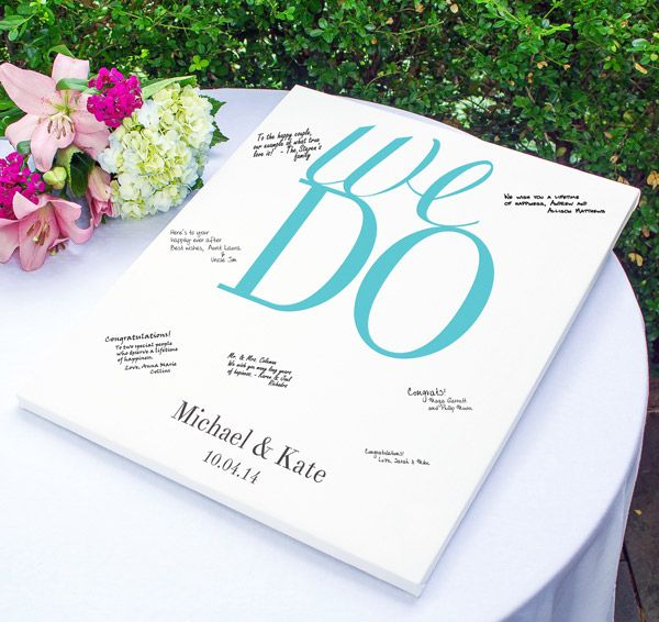 The Vows Gallery Wrapped Canvas Guest Book is the perfect guest book alternative!  Canvas guest book can be signed by all your guests and hung up in your home after the big day to remember your special day.  #daisydays