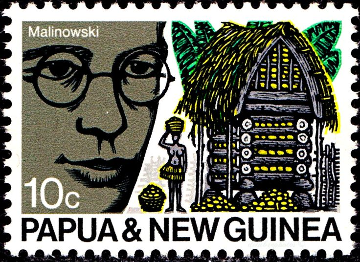 Papua New Guinea. Bronislaw Kaspar Malinowski, anthorpologist, and hut . Scott 312 A68, Issued 1970 Aug 9, Perf. 11 1/2, 10. /ldb.