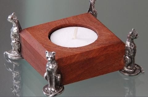 Pewter handcrafted. Diana Carmichael design. Tea light holder rosewood 65x65mm  - Cheetah Africa Collection