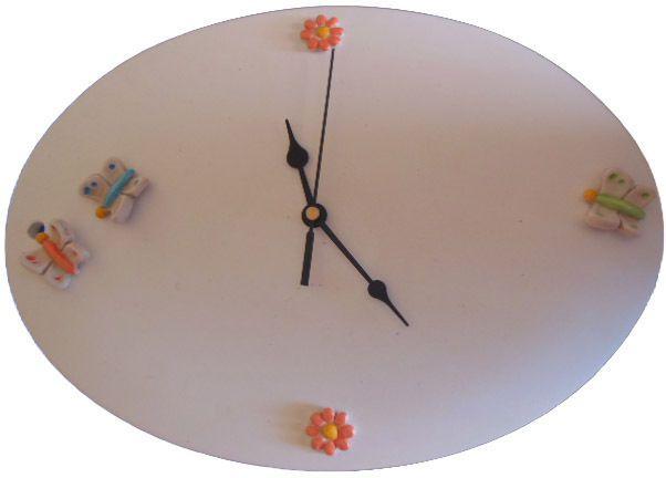 dettagli su orologio da parete in ceramica per cameretta bambini o da cucina dipinto a mano