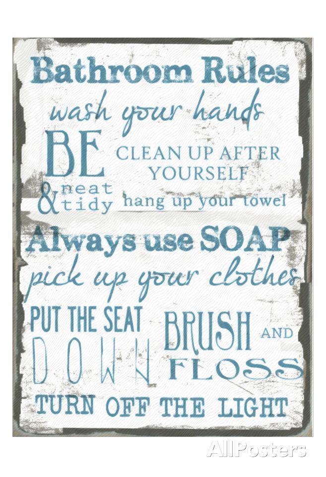 Bathroom Rules White. Blaugrüne BäderBadezimmer RegelnBadezimmerideenKind  ...