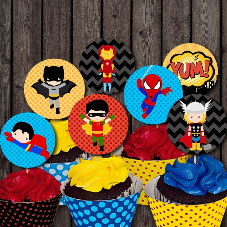 INSTANT DOWNLOAD Super hero cupcake toppers por AmysSimpleDesigns