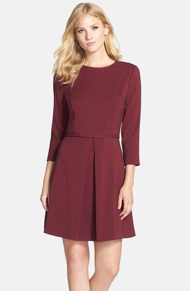 Eliza J Pleated Crepe Fit & Flare Dress (Regular & Petite) | Nordstrom