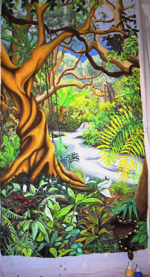 147 best jungle room images on pinterest coloring books for Aztec mural painting