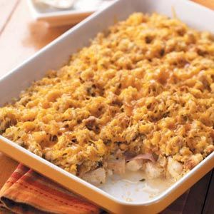 Chicken Cordon Bleu Bake  Ingredients  12oz reduced-sodium stuffing mix  1 can (10-3/4 ounces) condensed cream of chicken soup  1 cup milk  8 cups cubed cooked chicken  1/2 teaspoon pepper  3/4 pound sliced deli ham, cut into 1-inch strips  1 cup (4 ounces) shredded Swiss cheese  3 cups (12 ounces) shredded cheddar cheese  http://www.tasteofhome.com/Recipes/Chicken-Cordon-Bleu-Bake#