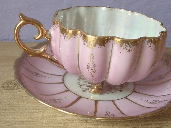 Antique Japanese tea cup set, vintage 1950's Royal Sealy pink tea cup and saucer, lustreware tea cup, footed tea cup