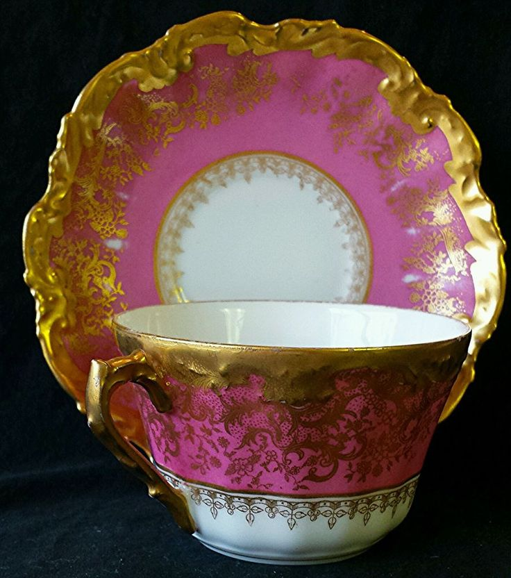 RARE Stunning Limoges LS s Cup Saucer Fancy Hand Painted Pink Gold Floral | eBay