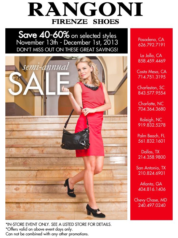 Semi-annual SALE !  From November 13th to December 1st. Only in our selected stores!