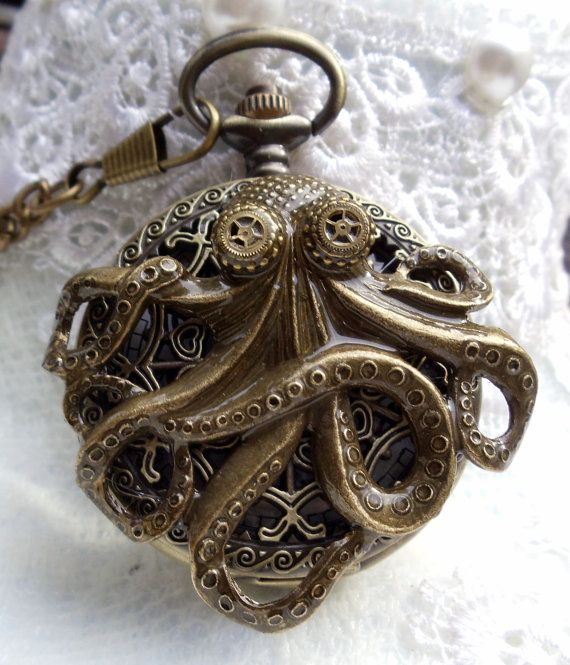 Octopus pocket watch, mens steampunk style, antique bronze, octopus pocket watch with custom goggles. Octopus watch features a octopus