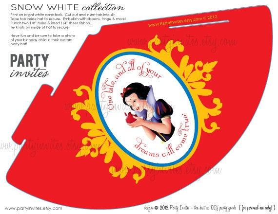 3992e9c2eaf SNOW WHITE Inspired Birthday Party Hats Print by partyinvites
