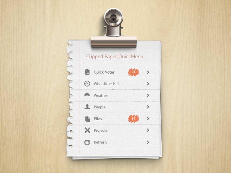 Clipped Paper Menu | #ui
