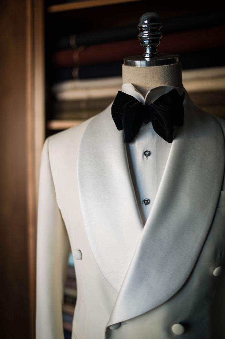 B&TAILOR — White shawl collar tuxedo by B&TAILOR