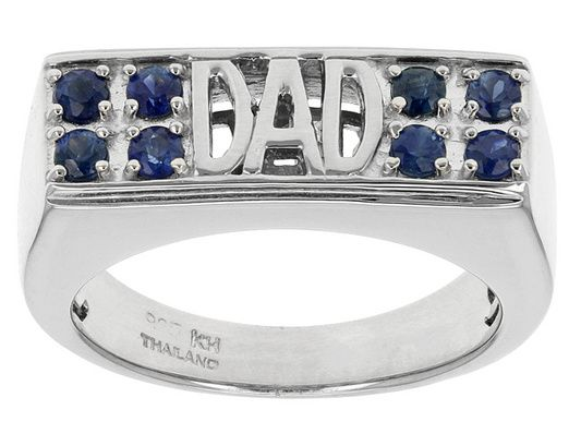 .55ctw Round Blue Sapphire Sterling Silver Gents 'dad' Ring