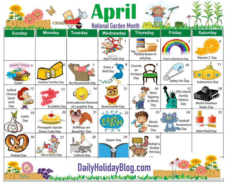 april daily holiday free calendar