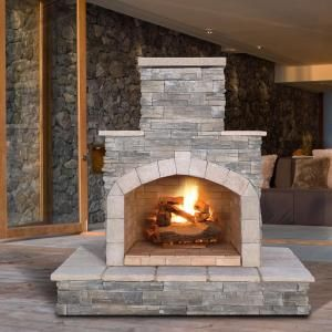 Cal Flame 78 in. Gray Natural Stone Propane Gas Outdoor Fireplace FRP908-3-NA at The Home Depot - Mobile