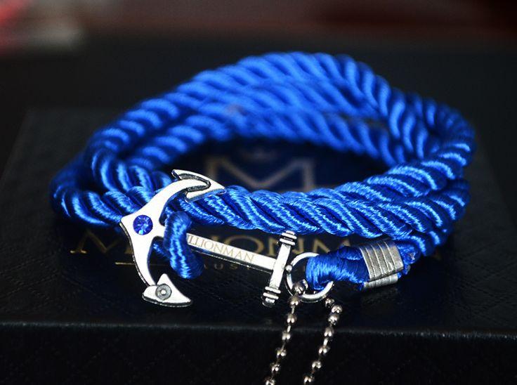 Sapphire Blue Anchor Rope Bracelet.