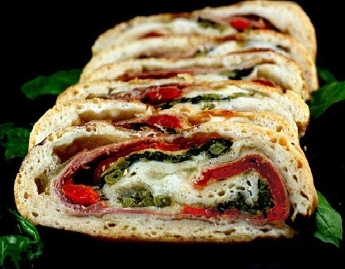 Three Cheese Broccoli Rabe, Prosciutto and Roasted Red Pepper Stromboli