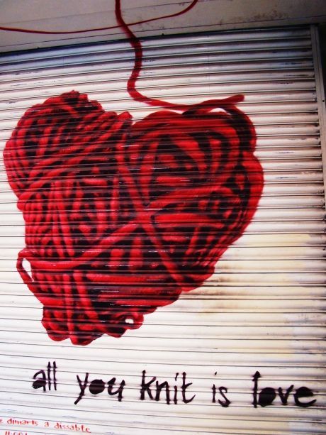 """""""All you knit is love"""", Barcelona. (this is for all the crafty ladies i know who are knitting phenoms)"""