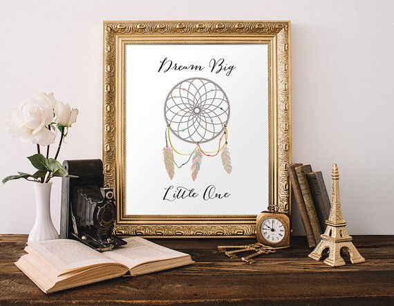 Dreamcatcher Dream Big Little One Art Print - Instant Download Printable  INSTANT DOWNLOAD JPEG File 8x10 Inches  Directions for Printable Art  1. Purchase this listing  2. Once your payment has processed, download your files directly from Etsy. The download box is located next to your order in your Purchases and Reviews section of your account.  3. Print your files at home or through a professional printer. For best results, use fresh ink and high quality cardstock paper.  4. Enjoy…