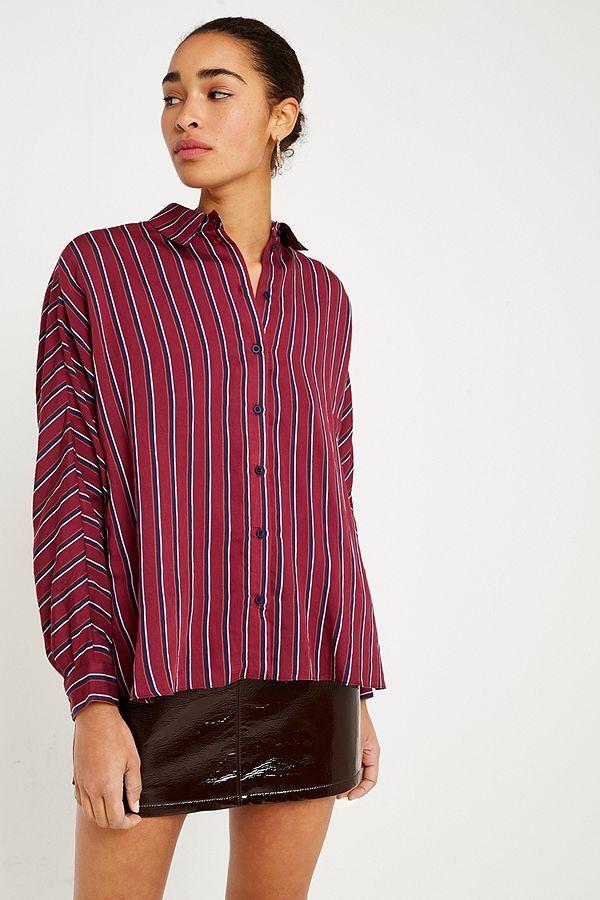UO Burgundy Striped Button-Down Shirt   For ME!   Pinterest 170214cf11d1