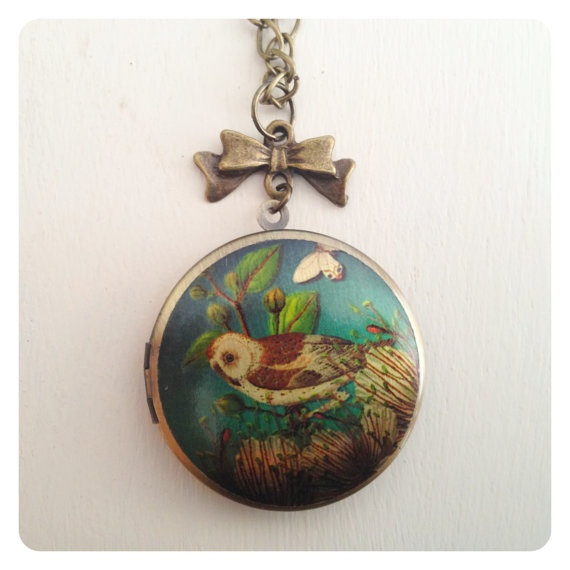 Owl Locket with Bow Necklace by catsandwhiskers on Etsy, $19.50