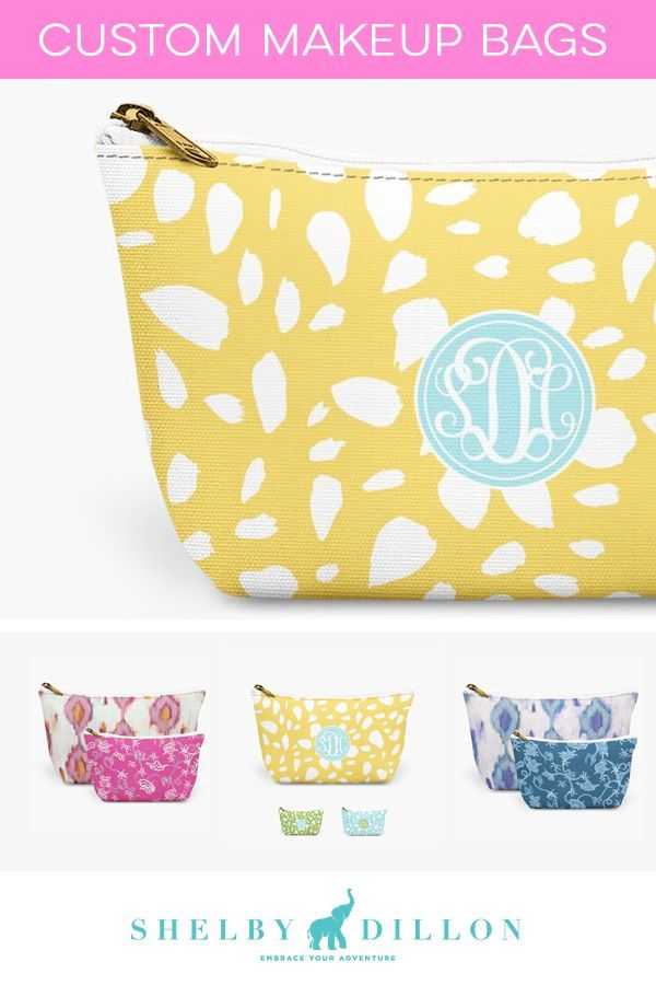 SHOP personalized gifts from Shelby Dillon Studios. Tons of custom makeup bags to choose from for bridesmaid gifts, customized bride presents, and more in bright neon colors and fun prints.