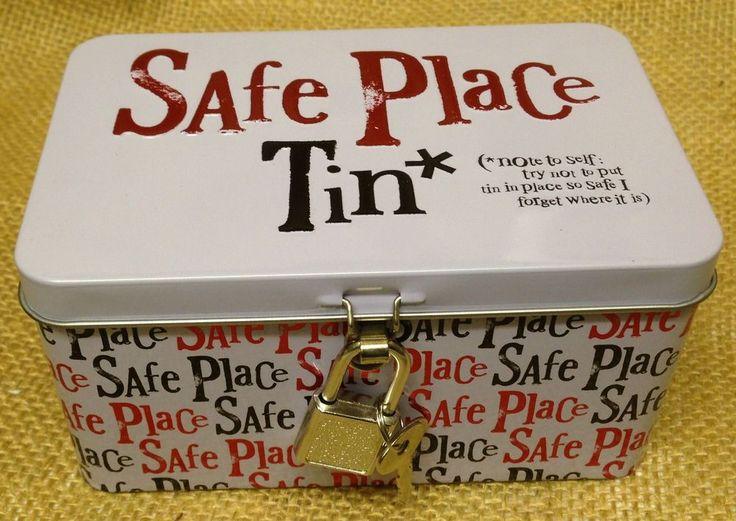 The Bright Side'Safe Place Tin'Secret Security Keepsake Padlock Cash Safe Box in Home, Furniture & DIY, Home Decor, Boxes, Jars & Tins | eBay