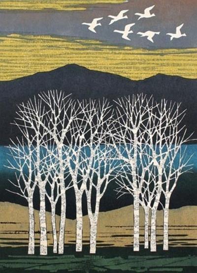Fumio Fujita (Japanese, b. 1933) White Trees and Birds Color woodblock, 1977.
