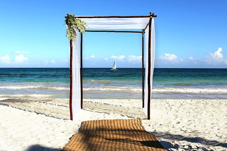 Ceremony set-up for a simple yet elegant beach wedding in Tulum at @La Zebra, Tulum .  Mexico wedding photographers Del Sol Photography