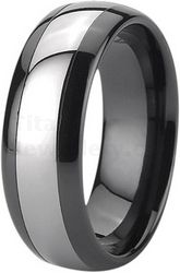 7mm Black Zirconia Ceramic Ring Court Wedding Ring with Tungsten Inlay