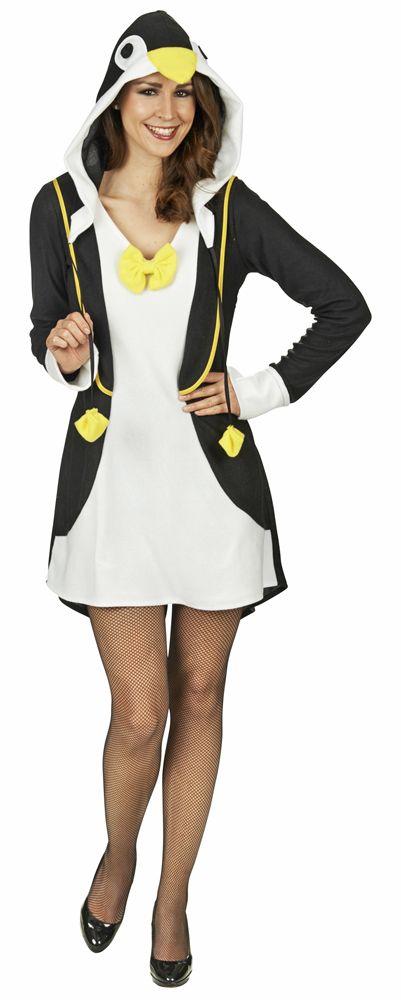 Süßes schwarz weißes Kleid aus weichen Material mit Pinguin Gesicht als Kapuze.