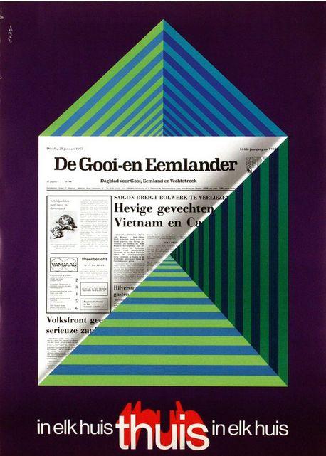 Poster by Cornelius van Velsen (b. 1921), 1975, De Gooi-en Eemlander.