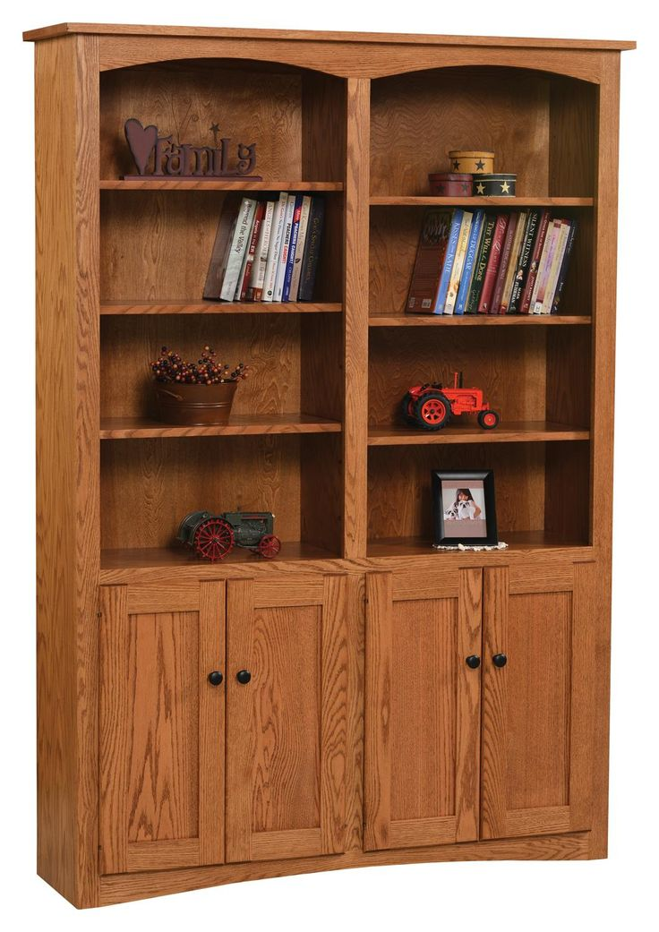 """Amish 48"""" Shaker Bookcase with Optional Doors"""