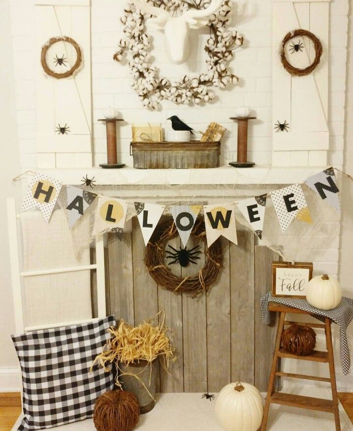 Elegant, Farmhouse Halloween Decor. Country Halloween decor. Black and white, neutral Halloween decor. On a budget. Fireplace Halloween decor.