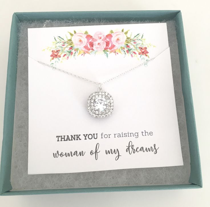 Mother of the Bride Gift, Gold Necklace, Cubic Zirconia Necklace, Mother In Law Gift, Thank you for raising the woman of my dreams, Mom Gift by AvaHopeDesigns on Etsy