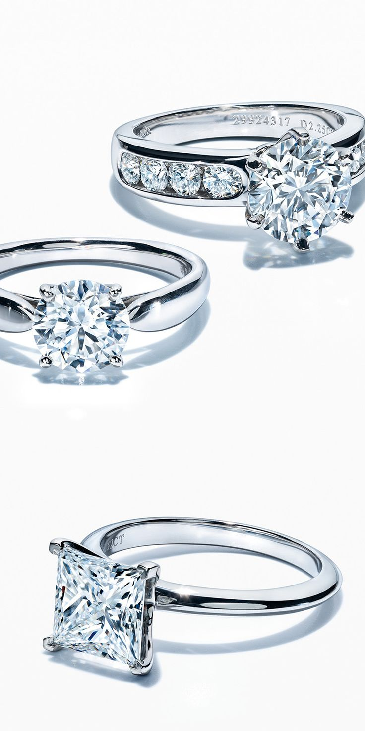 A legendary love deserves a legendary ring. The Tiffany® Setting with diamond band, Tiffany Harmony™ and Princess Cut rings in platinum with diamonds