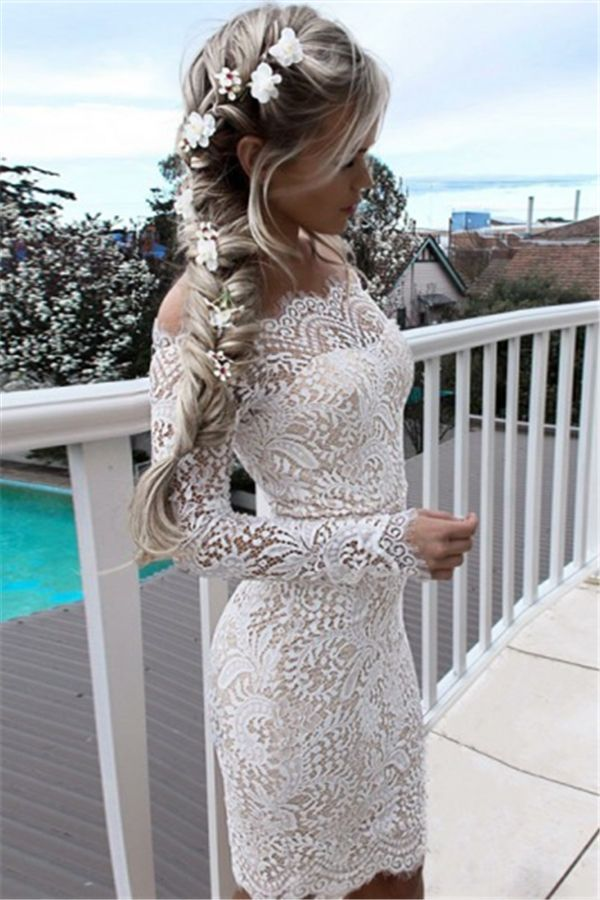 086a9815642 Bodycon Off-the-Shoulder Long Sleeves White Lace Prom Homecoming ...