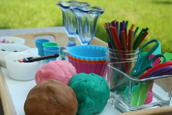 """I wanted to do something kind of """"yummy"""" with today's batch, and it was a beautiful day so we took it outside and set up an play dough ice cream shop."""