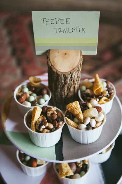 teepee trailmix! Such a fun dessert idea for a camping adventure lumberjack outdoor baby boy's birthday party! https://www.etsy.com/listing/265249238/let-my-adventure-begin-coming-home?ref=shop_home_active_16