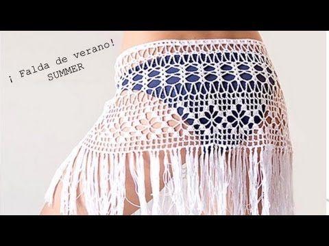 Tutorial #204: Falda de Verano o Salida de Baño a Crochet  ~ CTejidas [Crochet y Dos Agujas]