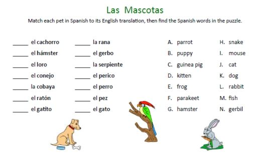 Learning Spanish Worksheets : Free spanish animals worksheets animales pinterest