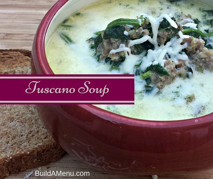Blog post at Build A Menu Blog : Tuscano Soup has got to be one of the best soups I've fixed in a while.  And believe me, I love soups!  Tuscano Soup was rich and creamy a[..]