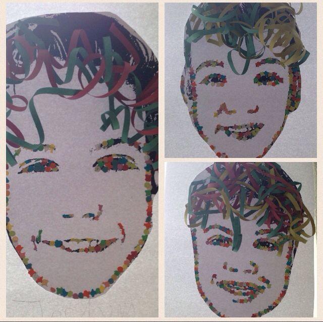 Carnavals masker gemaakt van confetti en een (bewerkte) zwart-wit foto van de kinderen. Haar gemaakt van serpentine. Gemaakt door leerlingen uit groep 8.