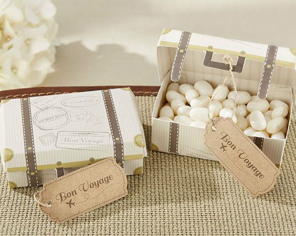 48 Bon Voyage Vintage Suitcase Wedding PartyFavor Box Can Be Personalized