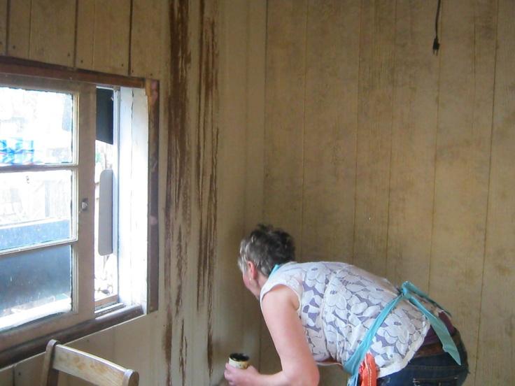 Distressing Wood Paneling Shabin Shed Cabin